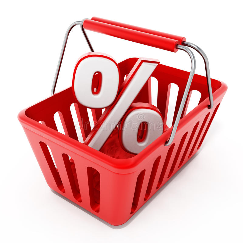 Het winkelen mand met percentagepictogram vector illustratie