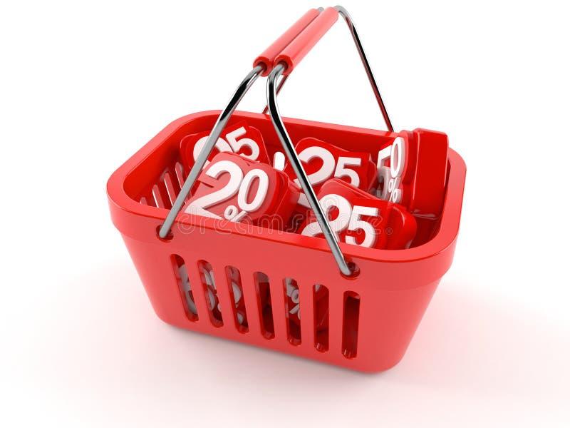 Het winkelen mand met percentensymbolen vector illustratie