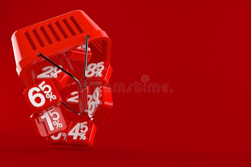 Het winkelen mand met percentensymbolen stock illustratie
