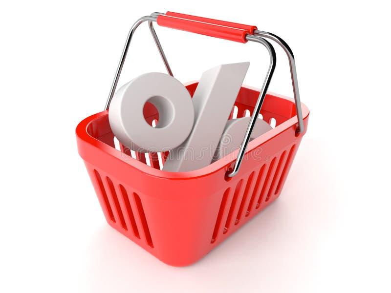 Het winkelen Mand met Percentensymbool vector illustratie