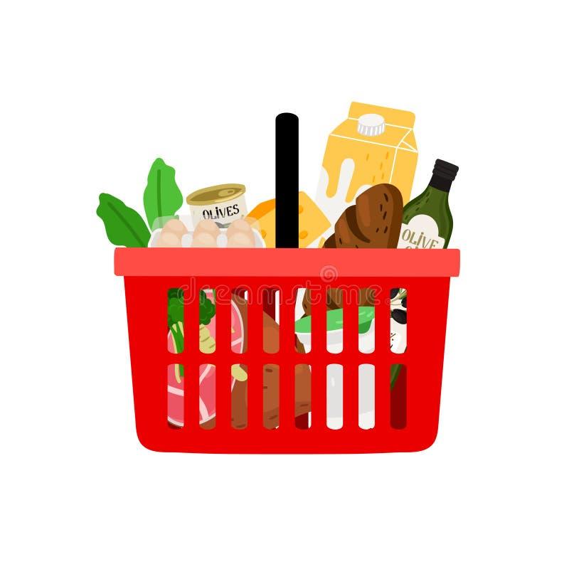 Het winkelen mand met producten op witte achtergrond worden geïsoleerd die vector illustratie