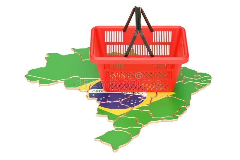 Het winkelen mand op Braziliaanse kaart, marktmand of kopende po royalty-vrije illustratie