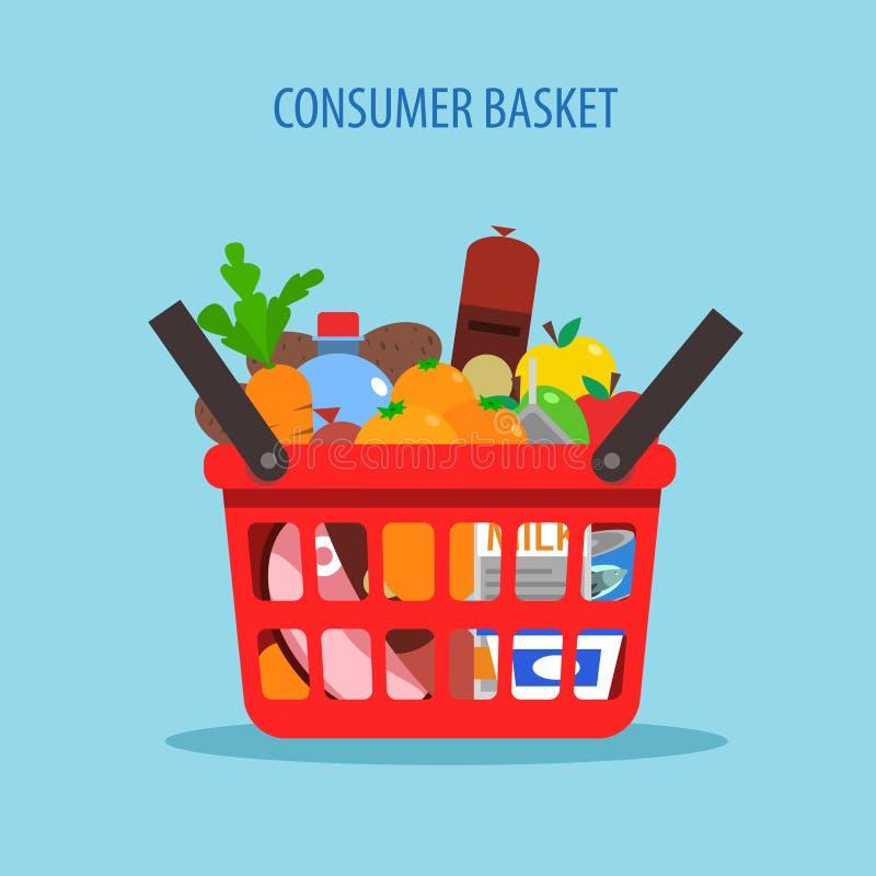 Het winkelen Mand Vlak Concept vector illustratie