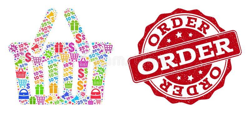 Het winkelen Mandcollage van Mozaïek en Geweven Verbinding voor Verkoop vector illustratie