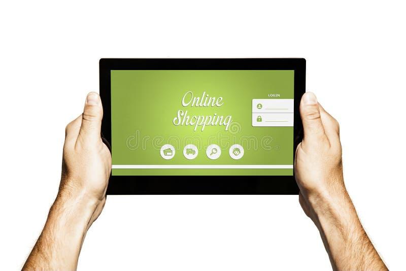 Het winkelen met een tablet stock fotografie