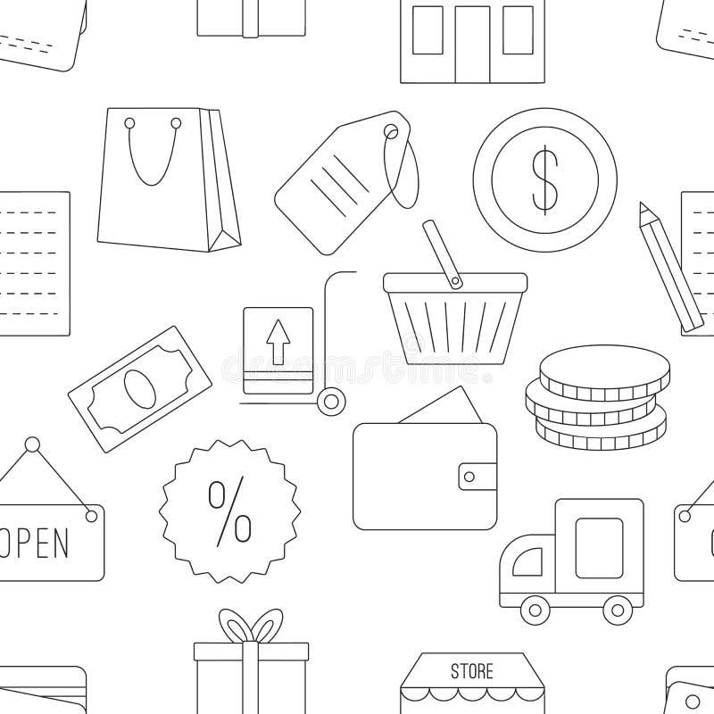 Het winkelen naadloos patroon vector illustratie