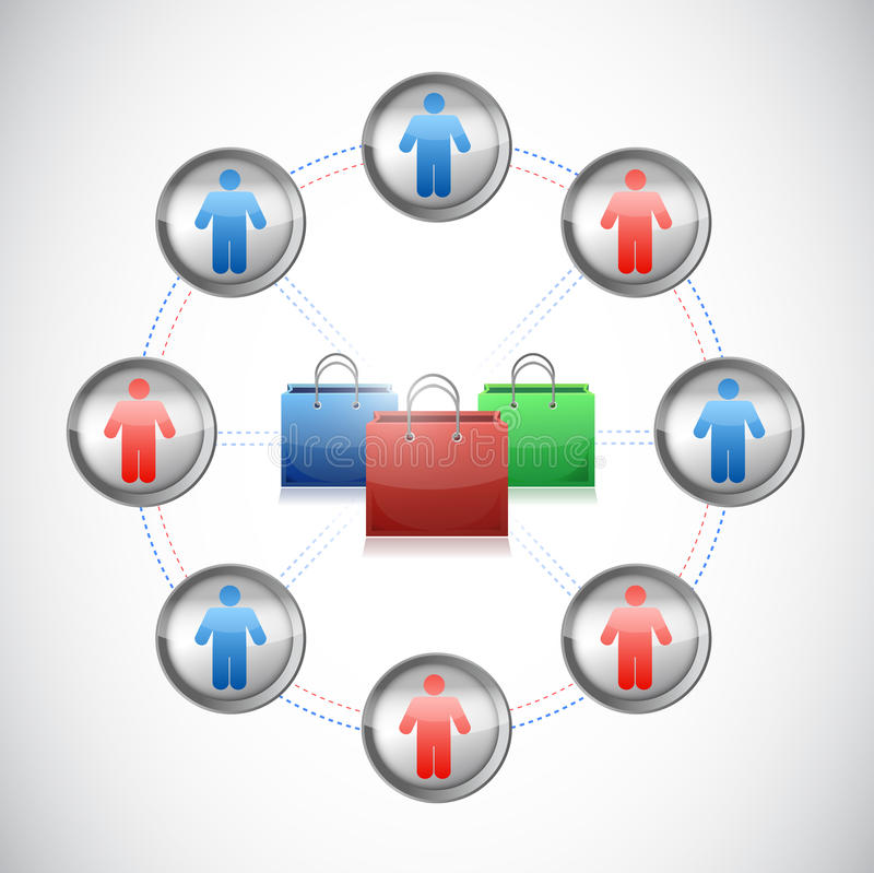 Het winkelen netwerk. het winkelen zakken en mensen. stock illustratie