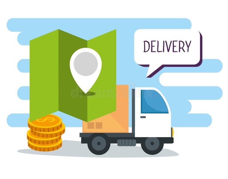 Het winkelen online en levering met plaats en muntstukken vector illustratie
