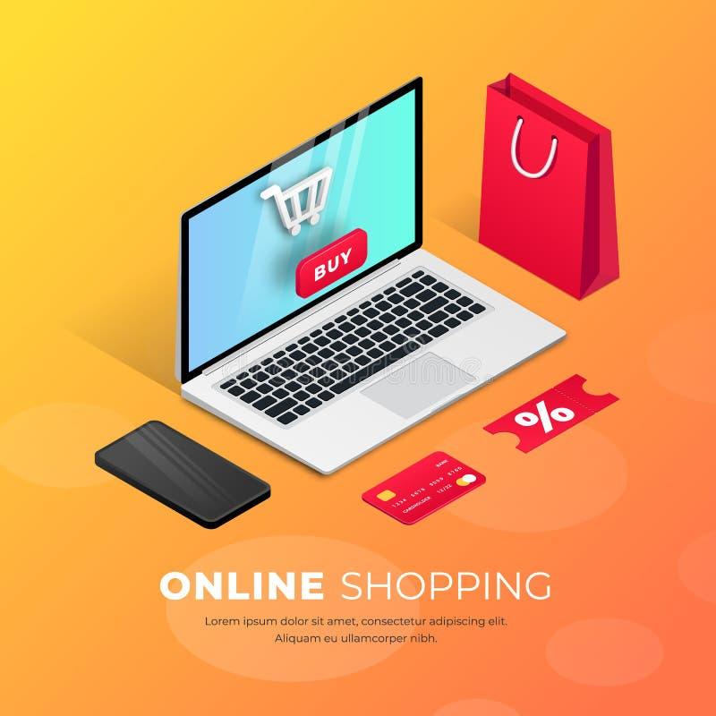 Het winkelen Online laptop isometrische illustratie vector illustratie