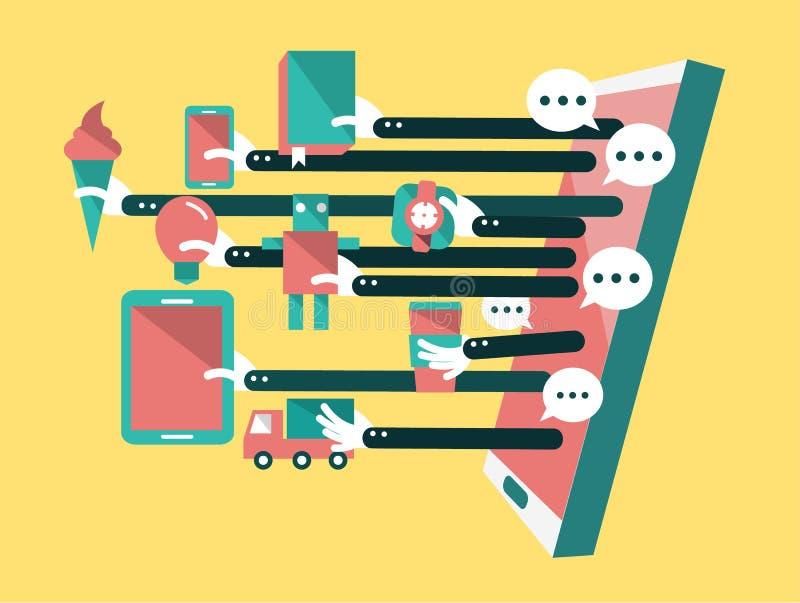 Het winkelen online, Online Opslag op slimme telefoon Zaken en digitaal marketing concept royalty-vrije illustratie