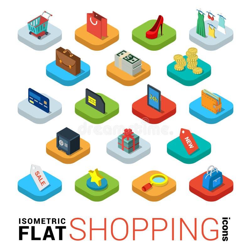Het winkelen online opslag vlak vector 3d isometrisch mobiel app pictogram royalty-vrije illustratie