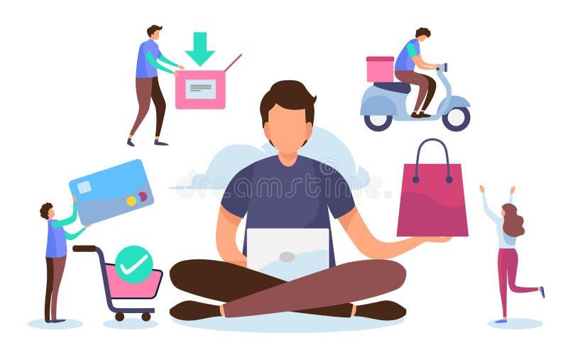 Het winkelen online proces Oplossing marketing concept Digitale betaling Vlak beeldverhaal miniatuurkarakter Duif als symbool van vector illustratie