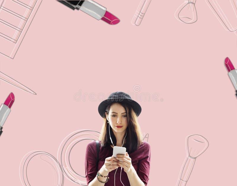 Het winkelen Online Shopaholics Elektronische handel e-Winkelend Concept stock foto's