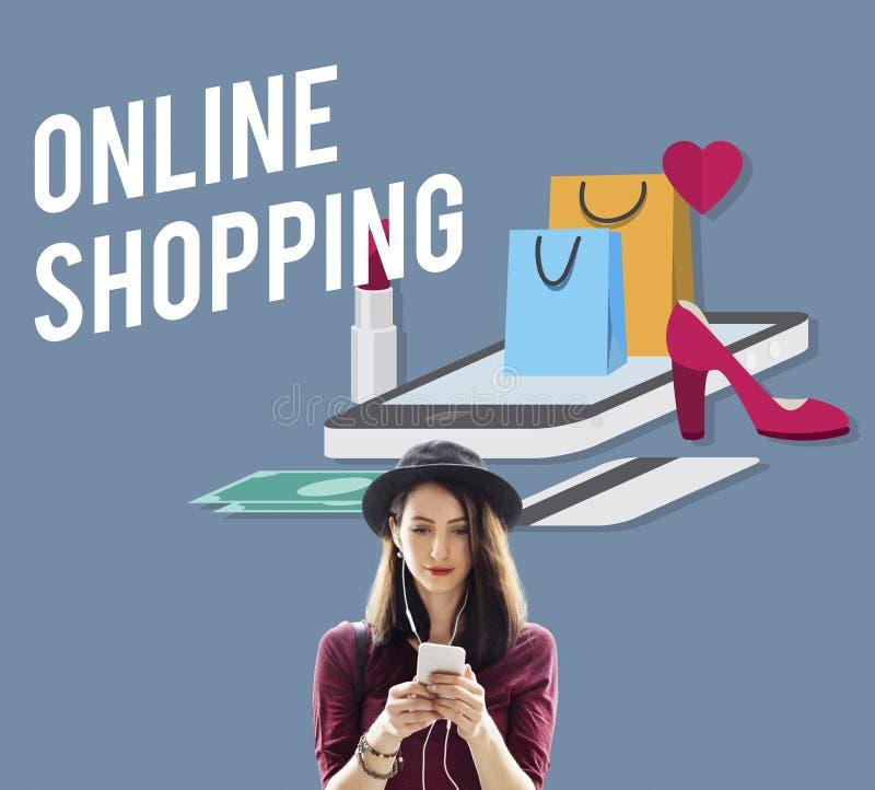 Het winkelen Online Shopaholics Elektronische handel e-Winkelend Concept royalty-vrije stock afbeelding