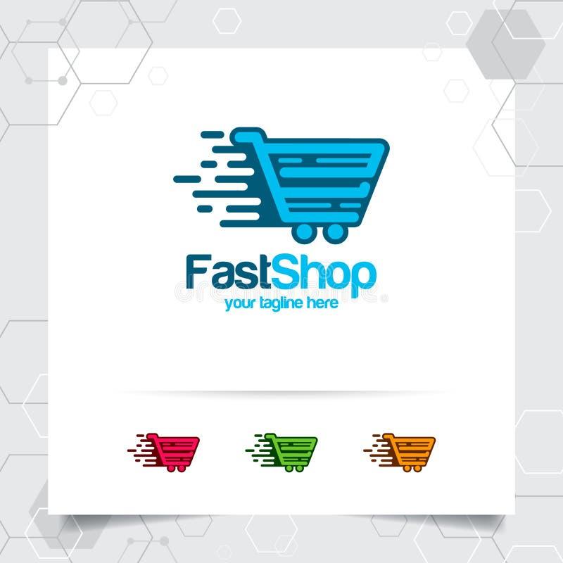 Het winkelen het ontwerpconcept van het zakembleem online die van de winkelpictogram en kar vector voor handelaar, e-commerce, en royalty-vrije illustratie