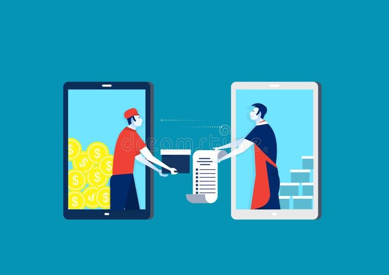 Het winkelen op het online concept van de winkelopslag en koop orde van handelaar op toepassing op telefoon Elektronische handelt vector illustratie