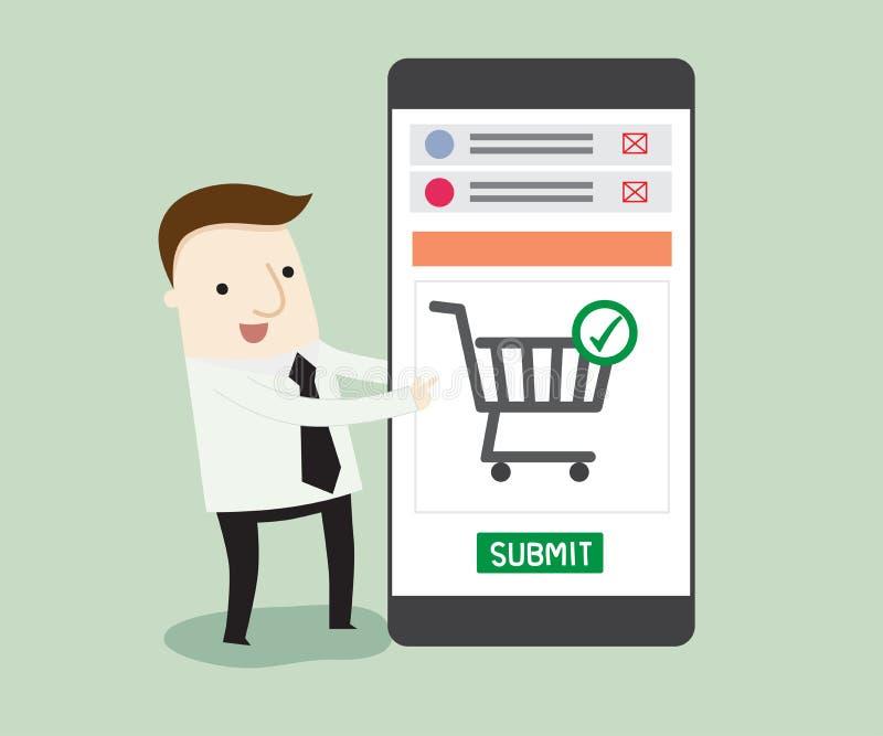 Het winkelen op online opslag royalty-vrije illustratie