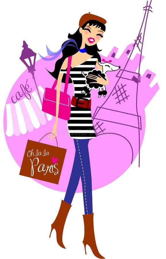 Het winkelen in Parijs stock illustratie