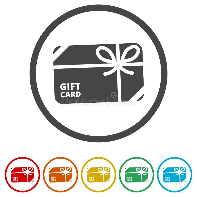 Het winkelen het pictogram van de giftkaart, het Pictogram van de Giftkaart, 6 Inbegrepen Kleuren stock illustratie