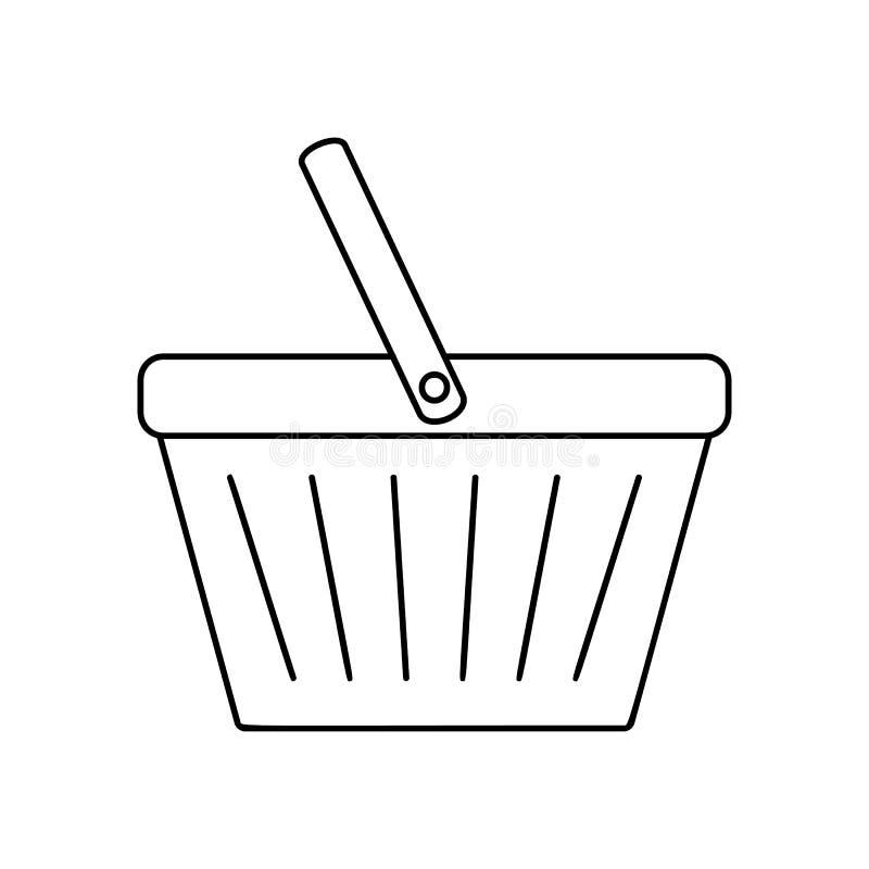 Het winkelen het pictogram van de mandlijn vector illustratie