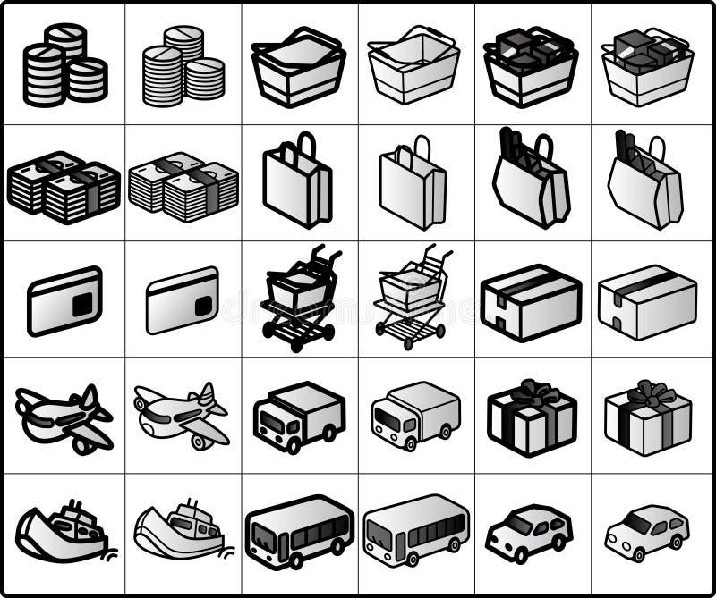 Het winkelen Pictogrammen #01 stock illustratie
