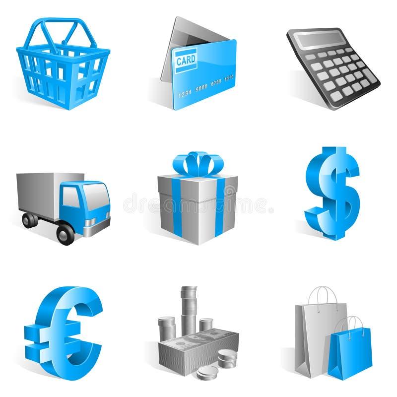 Het winkelen pictogrammen. stock illustratie