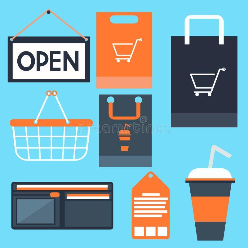 Het winkelen pictogrammen geplaatst de beurs van de het etiketmarkering van de mandzak vector illustratie