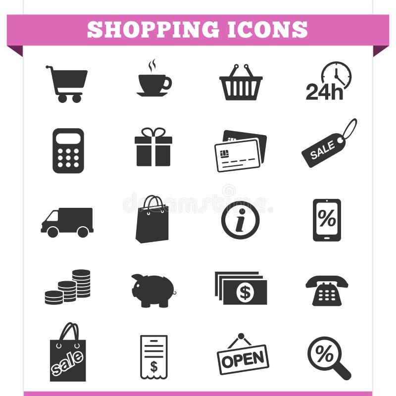 Het winkelen Pictogrammen Vectorreeks stock illustratie