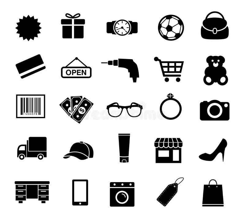 Het winkelen Pictogrammen, Zaken, Internet, Elektronische handel royalty-vrije illustratie