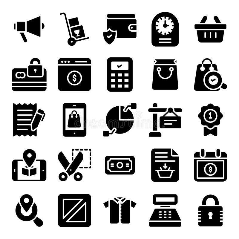 Het winkelen Pictogrammenpak royalty-vrije illustratie