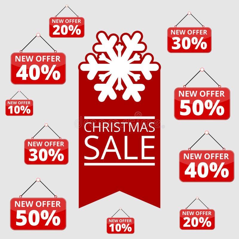 Het winkelen speciale aanbiedingen, kortingen en bevorderingen, de winterverkoop royalty-vrije illustratie