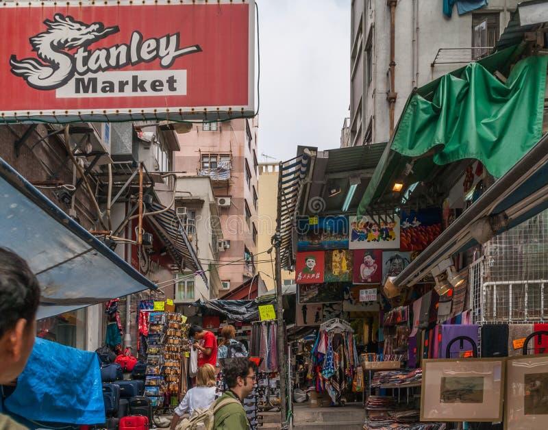 Het winkelen steeg in Stanley Market, Hong Kong Island China stock foto's