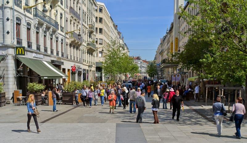 Het winkelen Straat, Lyon Frankrijk royalty-vrije stock foto