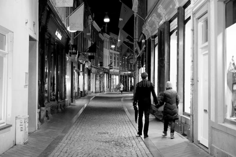 Het winkelen Straat in Maastricht. stock foto