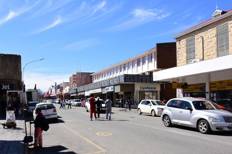 Het winkelen Straat, Oudtshoorn, Westelijke Kaap, Zuid-Afrika royalty-vrije stock afbeelding