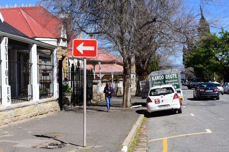 Het winkelen Straat, Oudtshoorn, Westelijke Kaap, Zuid-Afrika royalty-vrije stock foto