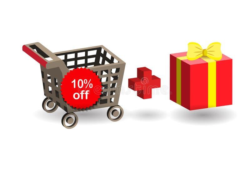 Het winkelen supermarktkar royalty-vrije illustratie