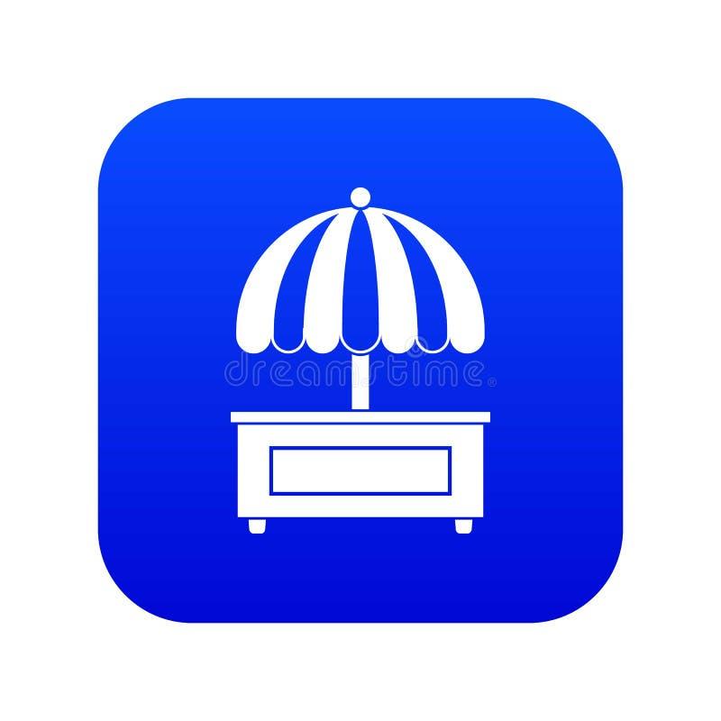 Het winkelen in tegenovergestelde richting met het digitale blauw van het paraplupictogram stock illustratie