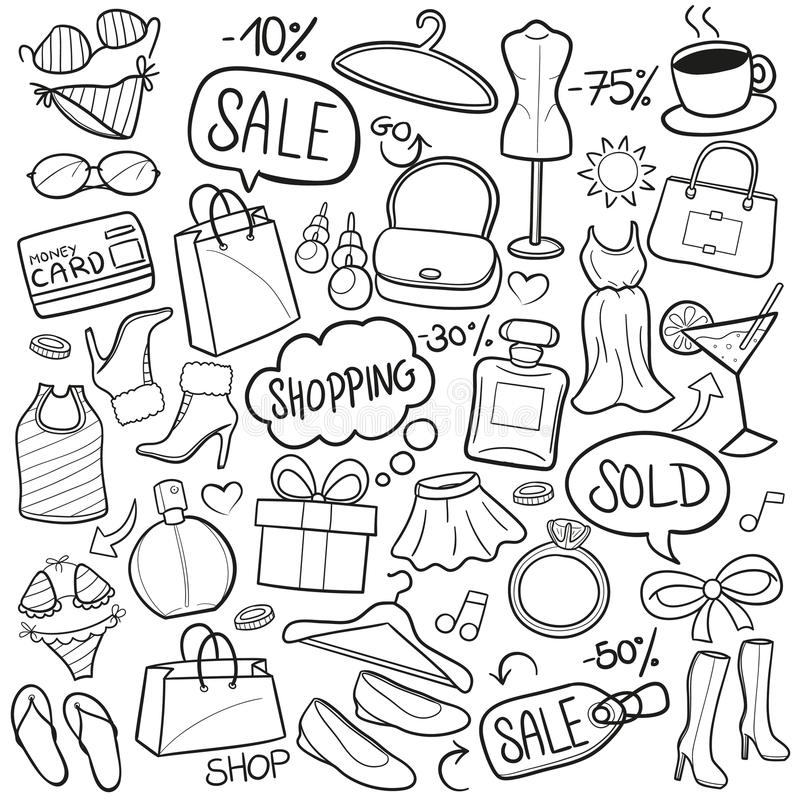 Het winkelen Traditionele de Schetshand van Krabbelpictogrammen - gemaakte Ontwerpvector vector illustratie