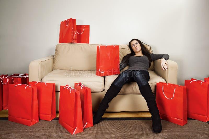 Het winkelen uitputting stock afbeeldingen