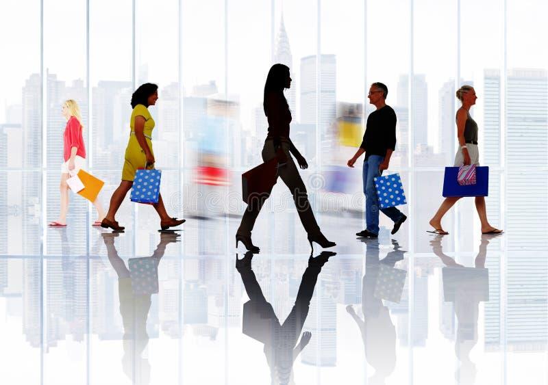 Het winkelen van de Aankoop Kleinhandelsklant Verkoopconcept Van de consument stock fotografie