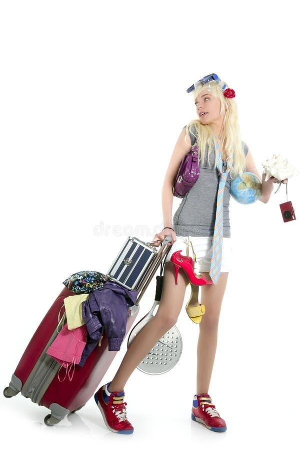 Het winkelen van de blonde de koffer van de meisjesvakantie fu royalty-vrije stock afbeeldingen