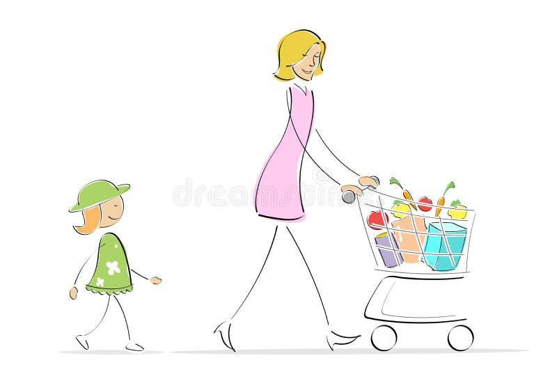 Het winkelen van de moeder en van de dochter vector illustratie