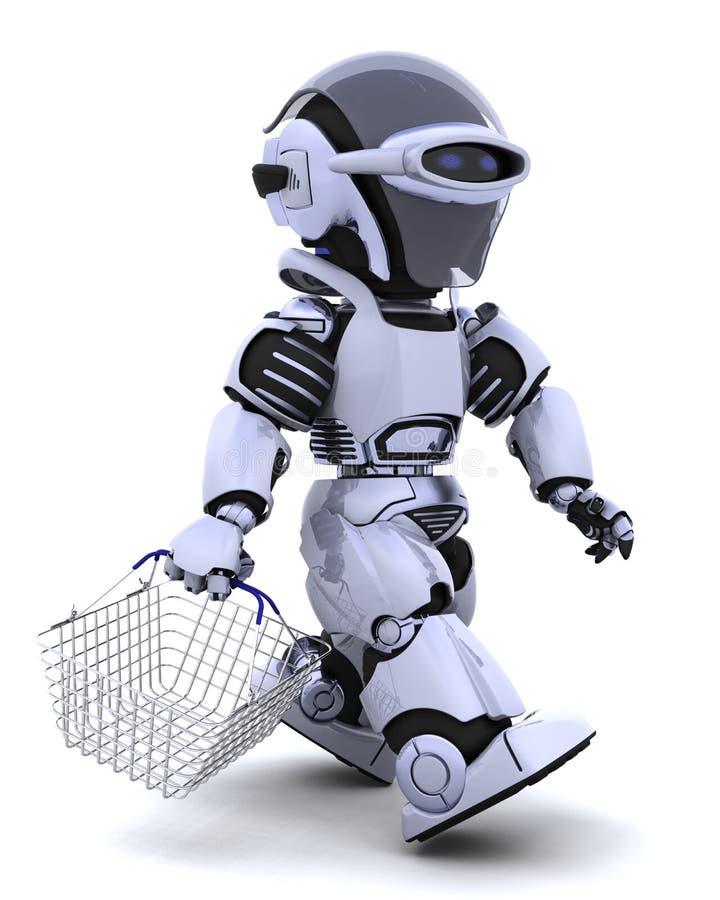 Het winkelen van de robot stock illustratie