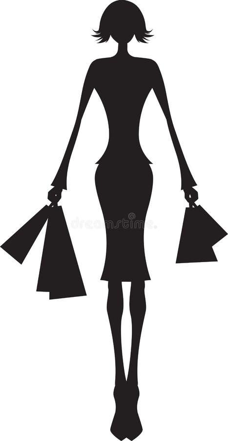 Het winkelen van de vrouw vector illustratie