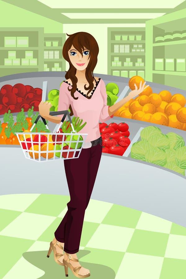 Het winkelen van de vrouw kruidenierswinkel vector illustratie