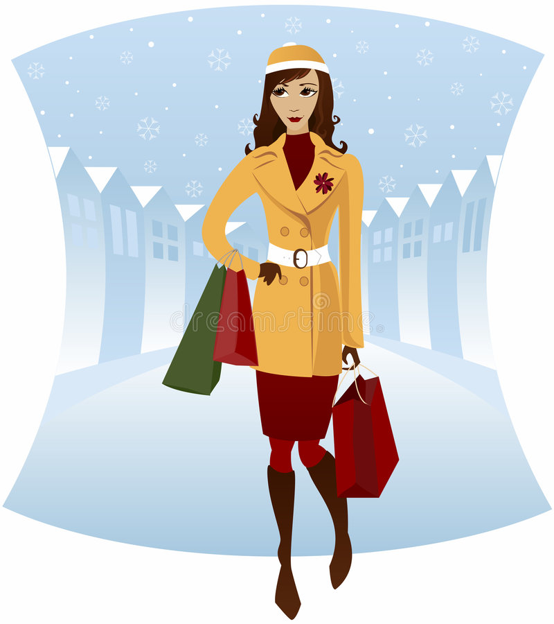 Het Winkelen van de winter royalty-vrije illustratie
