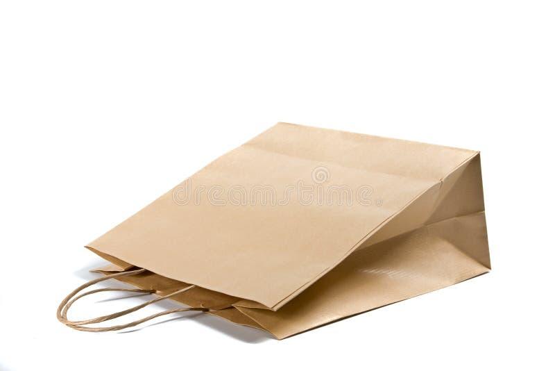 Document het winkelen zak op wit stock afbeelding