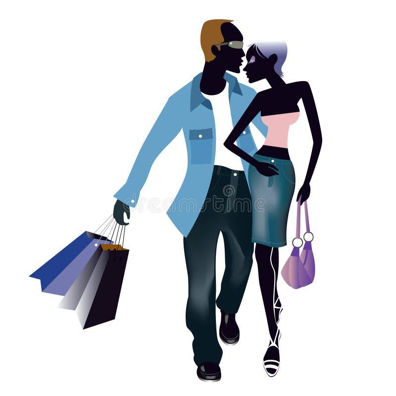 Het winkelen van het paar stock illustratie