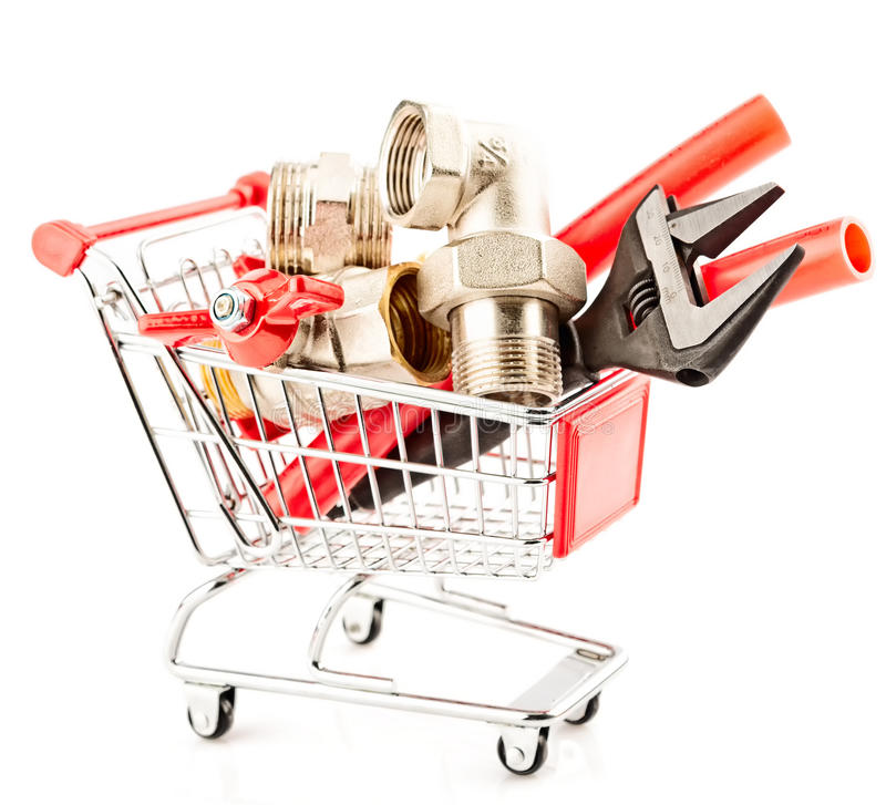 Het winkelen van hulpmiddelen en verwarmingssysteemdelen stock afbeeldingen